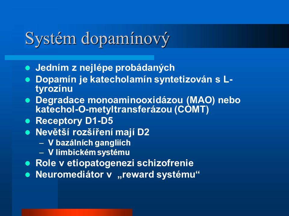 Systém dopamínový Jedním z nejlépe probádaných