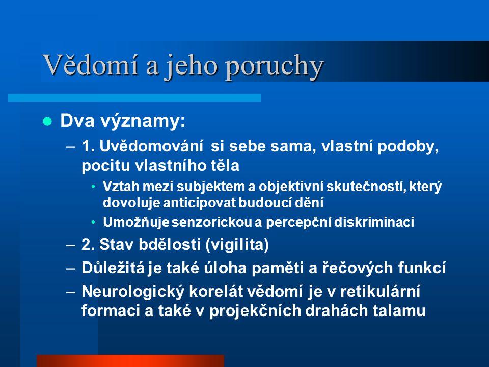 Vědomí a jeho poruchy Dva významy: