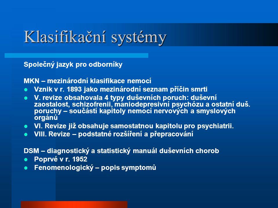 Klasifikační systémy Společný jazyk pro odborníky