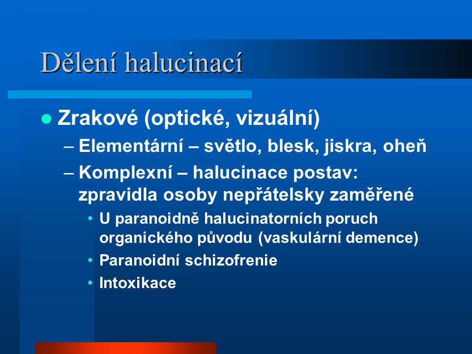 Dělení halucinací Zrakové (optické, vizuální)