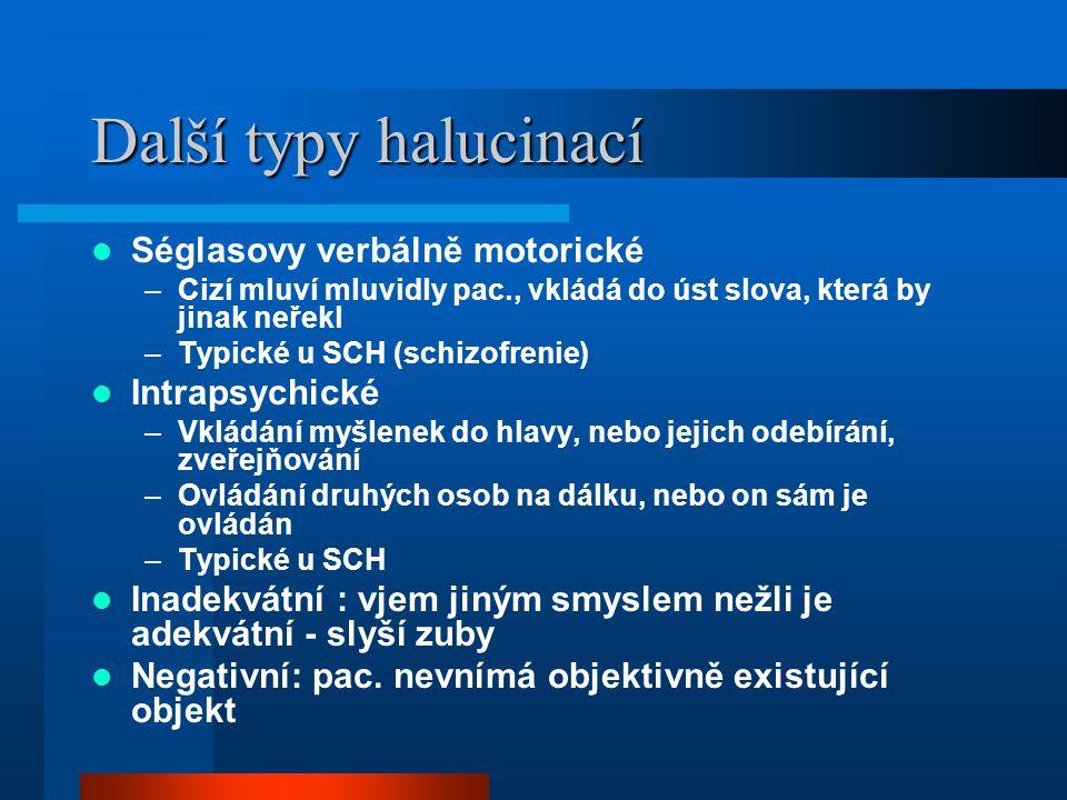 Další typy halucinací Séglasovy verbálně motorické Intrapsychické
