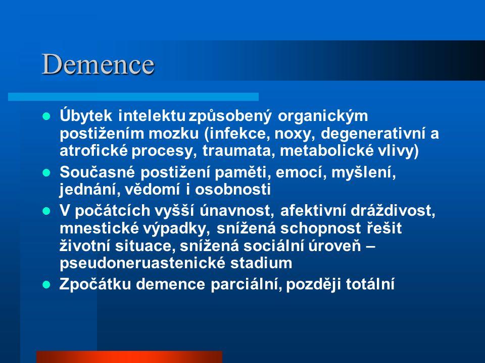 Demence Úbytek intelektu způsobený organickým postižením mozku (infekce, noxy, degenerativní a atrofické procesy, traumata, metabolické vlivy)