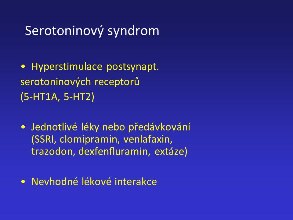 Serotoninový syndrom Hyperstimulace postsynapt.