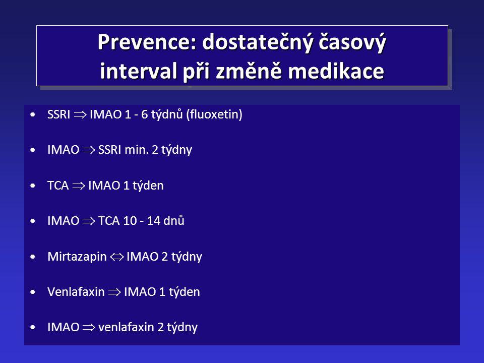 Prevence: dostatečný časový interval při změně medikace