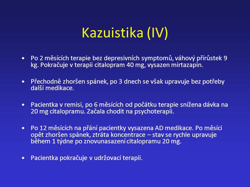 Kazuistika (IV) Po 2 měsících terapie bez depresivních symptomů, váhový přírůstek 9 kg. Pokračuje v terapii citalopram 40 mg, vysazen mirtazapin.