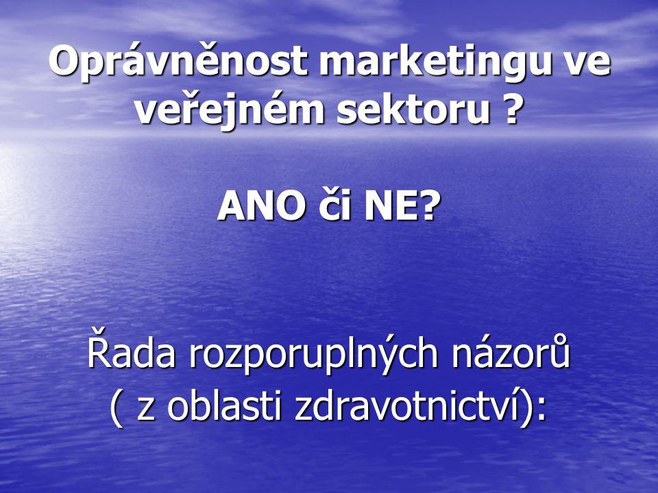 Oprávněnost marketingu ve veřejném sektoru ANO či NE