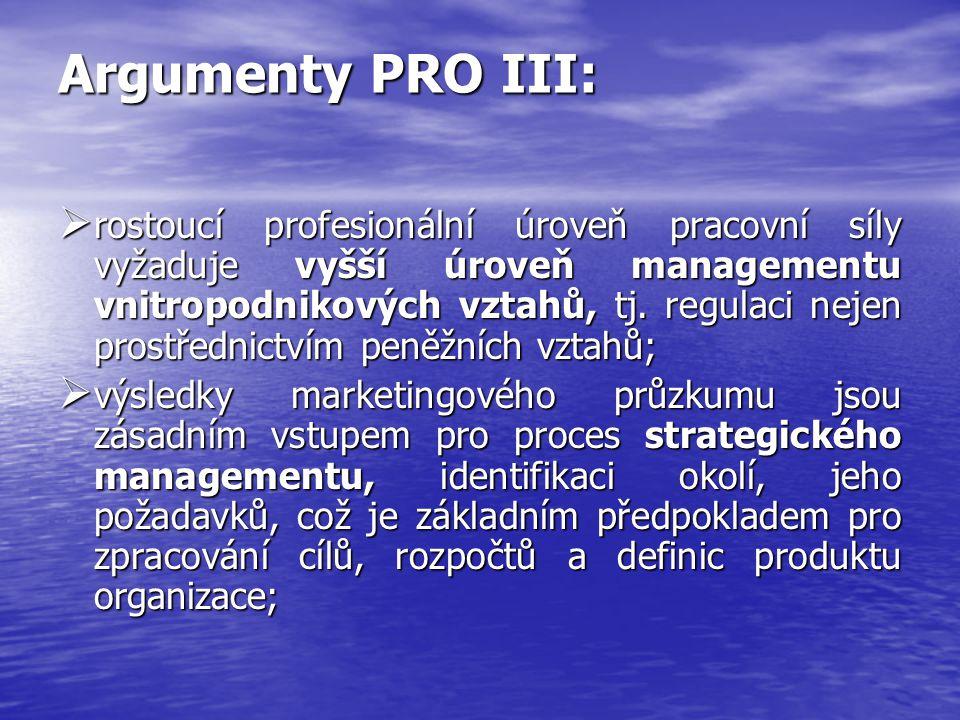 Argumenty PRO III: