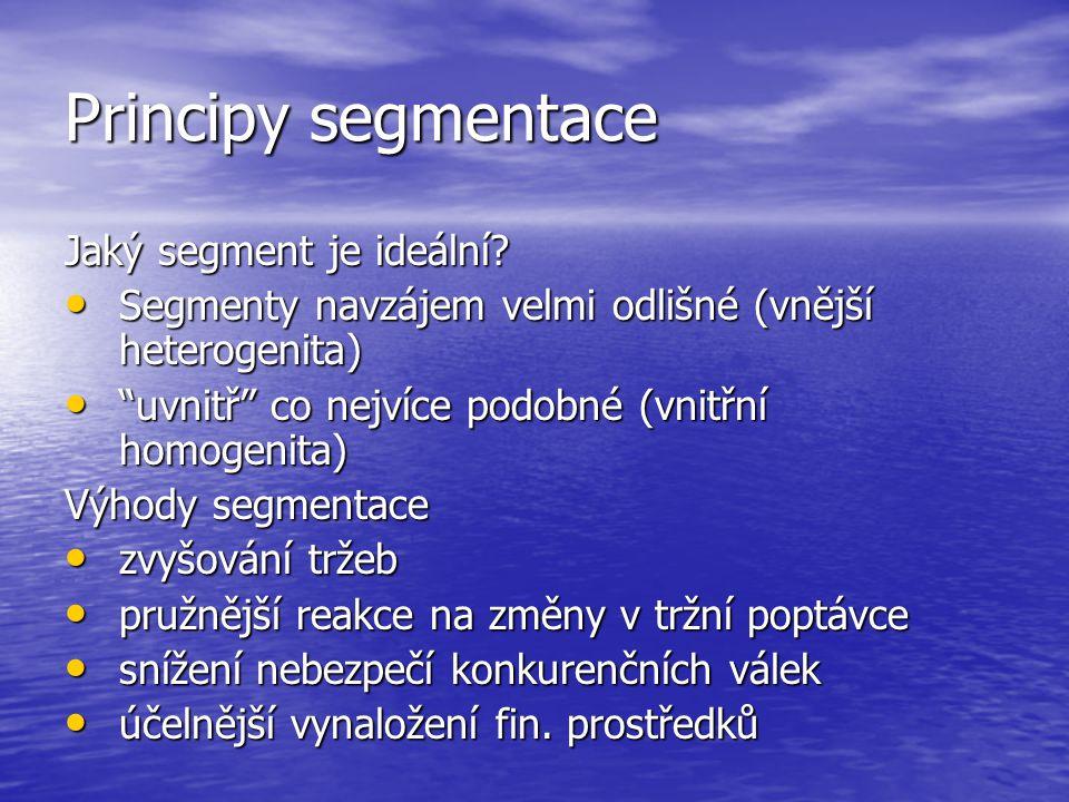 Principy segmentace Jaký segment je ideální