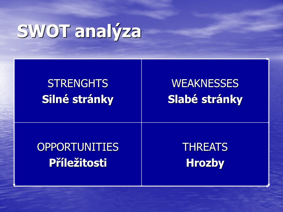 SWOT analýza STRENGHTS Silné stránky WEAKNESSES Slabé stránky