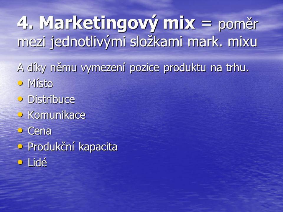 4. Marketingový mix = poměr mezi jednotlivými složkami mark. mixu
