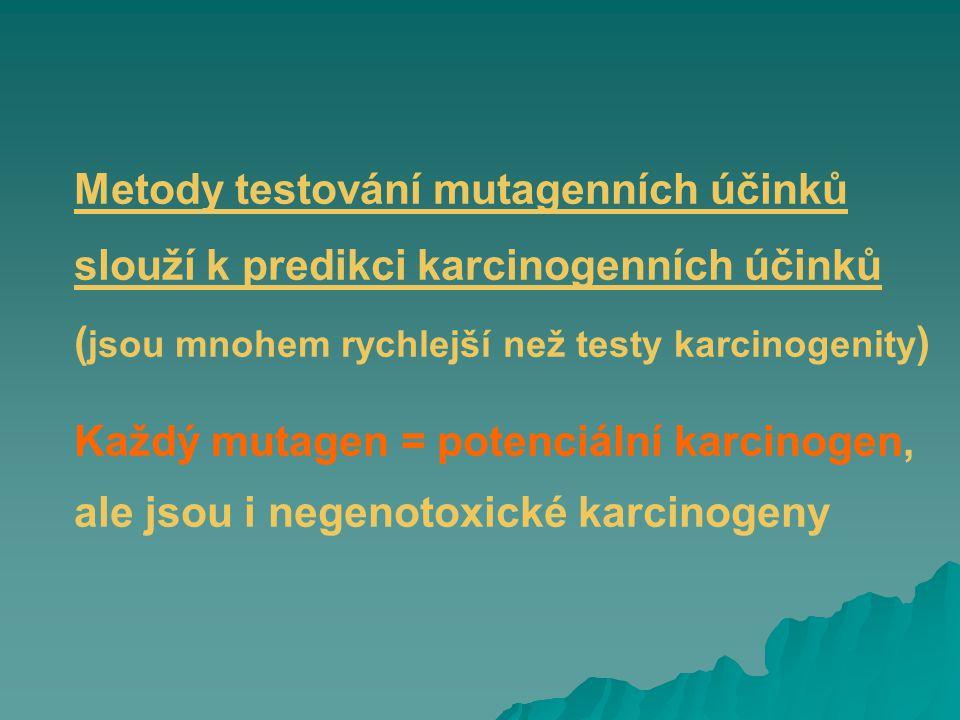 Metody testování mutagenních účinků slouží k predikci karcinogenních účinků (jsou mnohem rychlejší než testy karcinogenity)