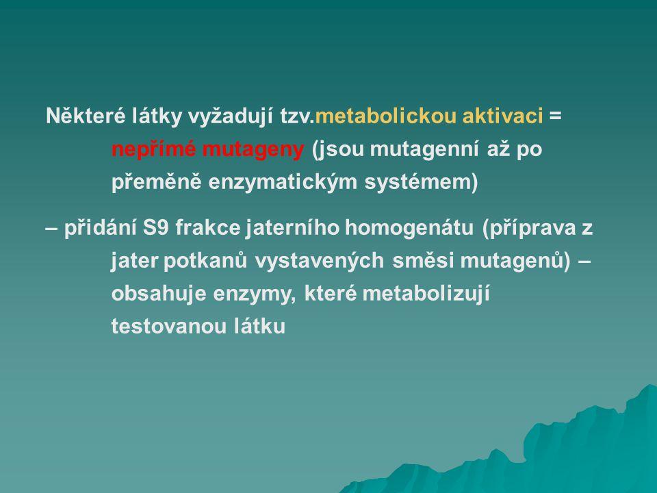 Některé látky vyžadují tzv. metabolickou aktivaci =