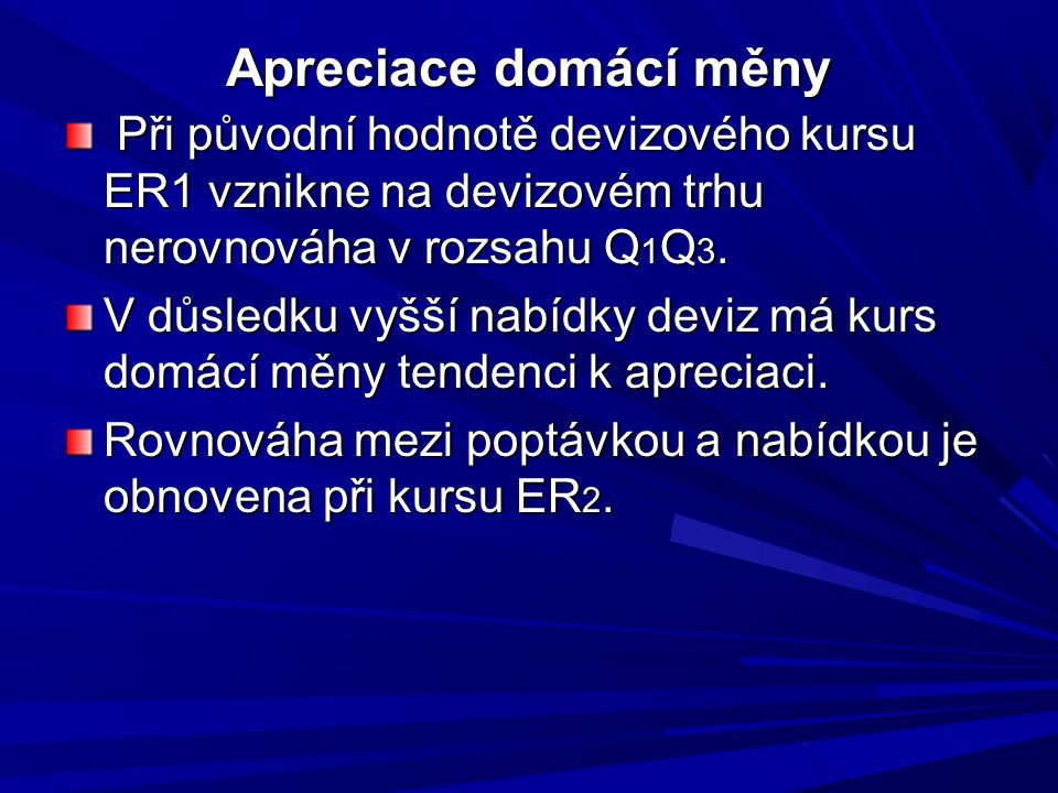 Apreciace domácí měny Při původní hodnotě devizového kursu ER1 vznikne na devizovém trhu nerovnováha v rozsahu Q1Q3.