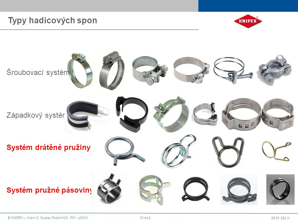 Typy hadicových spon Šroubovací systém Západkový systém