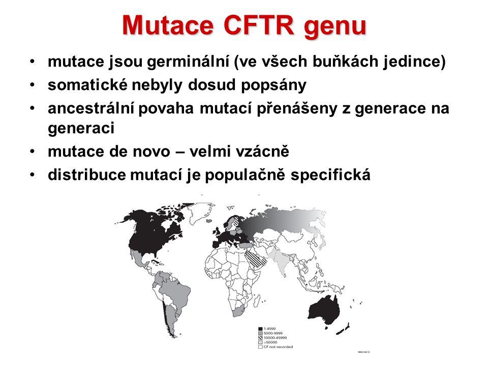Mutace CFTR genu mutace jsou germinální (ve všech buňkách jedince)