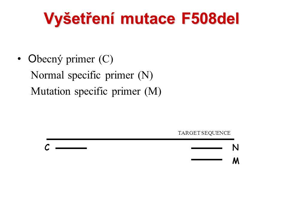 Vyšetření mutace F508del Obecný primer (C) Normal specific primer (N)
