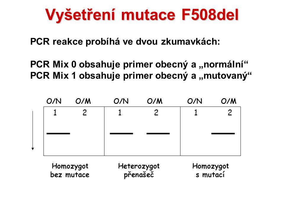 """Vyšetření mutace F508del PCR Mix 0 obsahuje primer obecný a """"normální"""