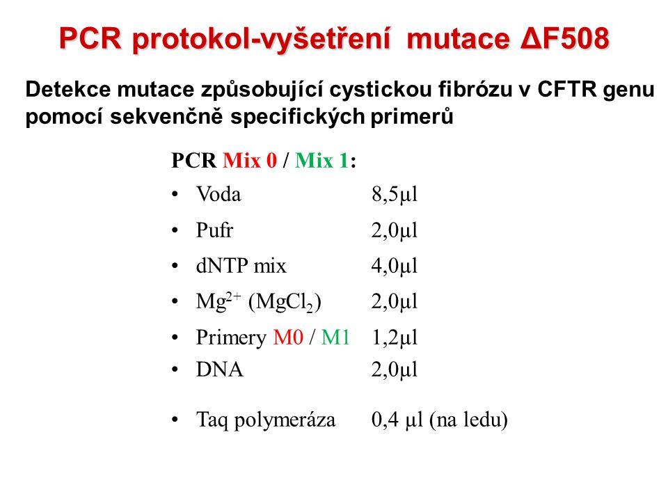 PCR protokol-vyšetření mutace ΔF508