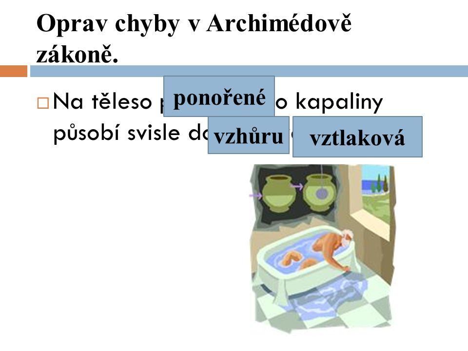 Oprav chyby v Archimédově zákoně.