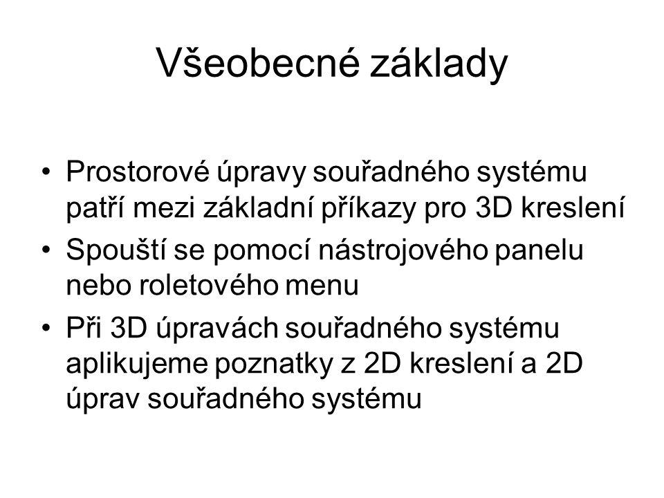 Všeobecné základy Prostorové úpravy souřadného systému patří mezi základní příkazy pro 3D kreslení.