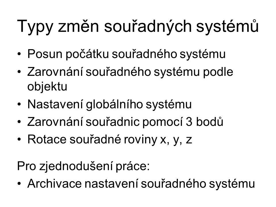 Typy změn souřadných systémů