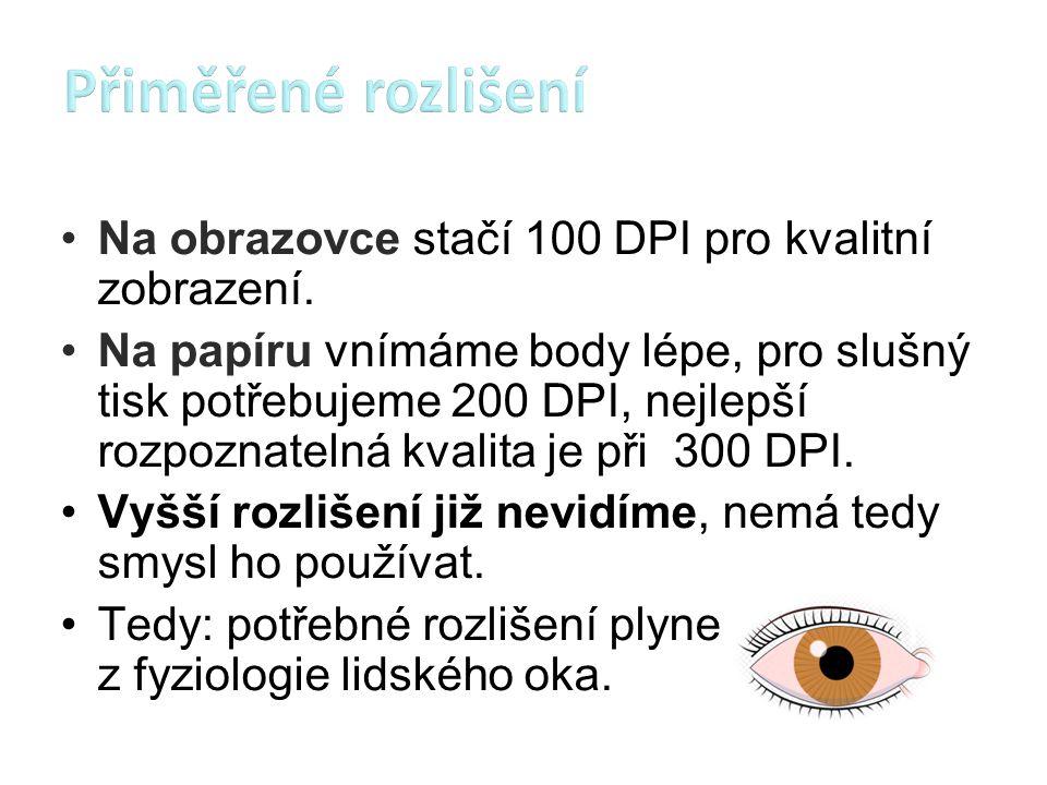 Přiměřené rozlišení Na obrazovce stačí 100 DPI pro kvalitní zobrazení.