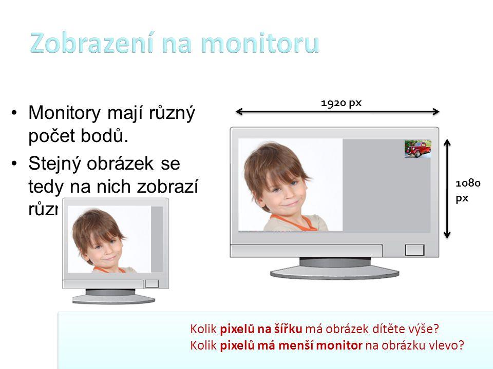 Zobrazení na monitoru Monitory mají různý počet bodů.