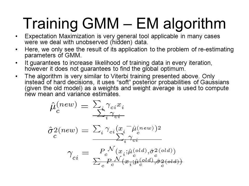 Training GMM – EM algorithm