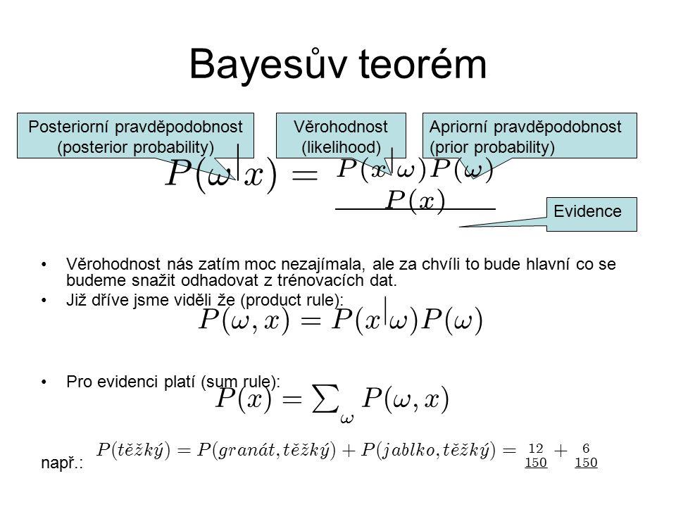 Bayesův teorém P ( ! j x ) = P ( ! ; x ) = j P ( x ) = ; ! P ( t · e z