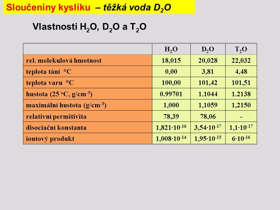 Sloučeniny kyslíku – těžká voda D2O