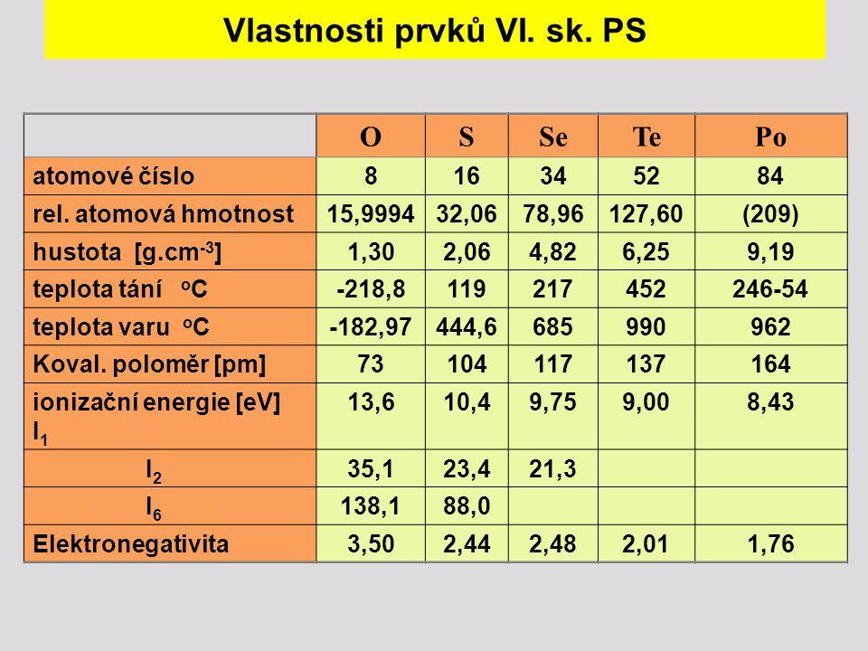 Vlastnosti prvků VI. sk. PS