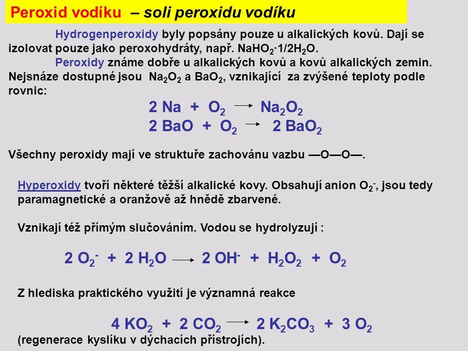 Peroxid vodíku – soli peroxidu vodíku