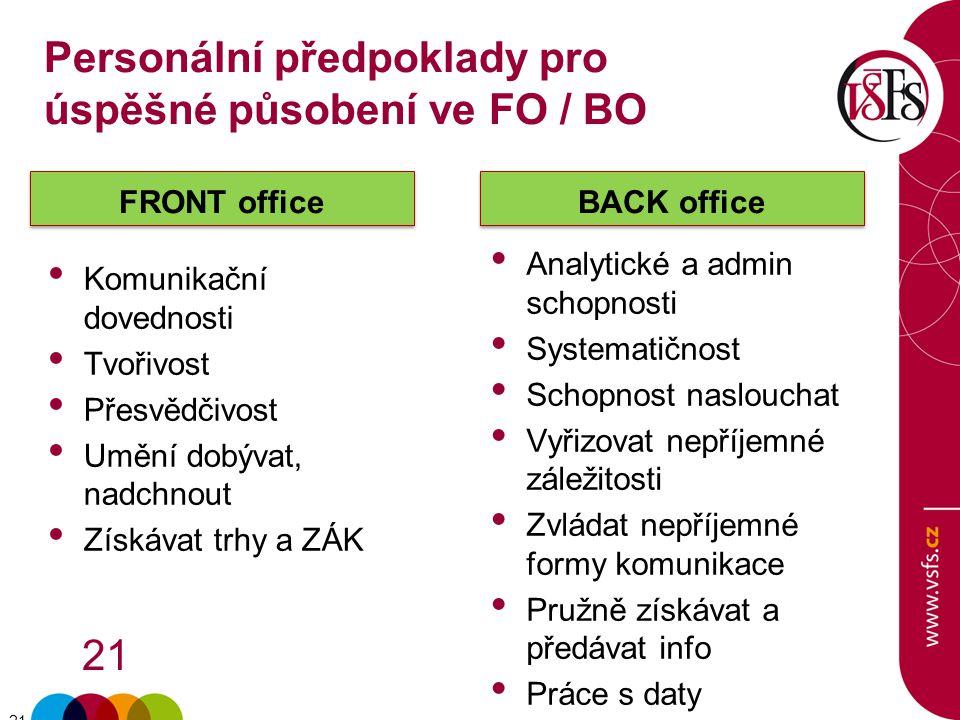Personální předpoklady pro úspěšné působení ve FO / BO