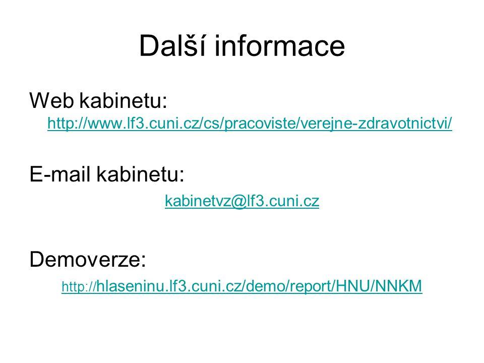 Další informace Web kabinetu: http://www.lf3.cuni.cz/cs/pracoviste/verejne-zdravotnictvi/ E-mail kabinetu: