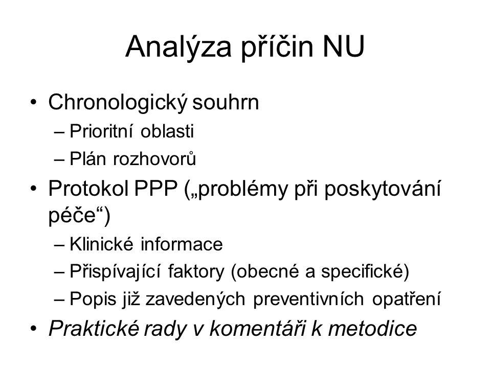 Analýza příčin NU Chronologický souhrn