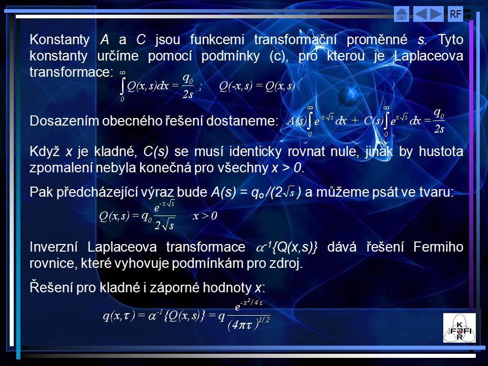 Konstanty A a C jsou funkcemi transformační proměnné s