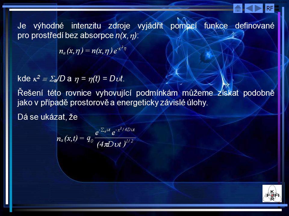 Je výhodné intenzitu zdroje vyjádřit pomocí funkce definované pro prostředí bez absorpce n(x,h):