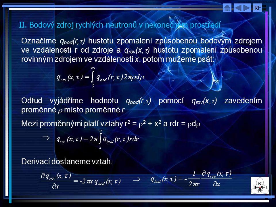 II. Bodový zdroj rychlých neutronů v nekonečném prostředí