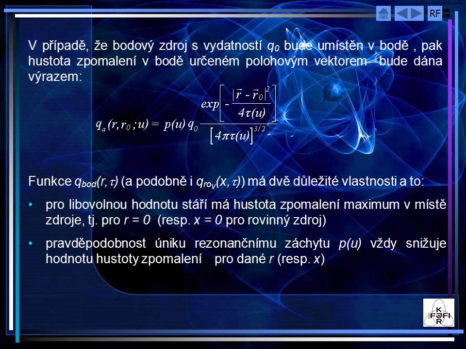 V případě, že bodový zdroj s vydatností q0 bude umístěn v bodě , pak hustota zpomalení v bodě určeném polohovým vektorem bude dána výrazem: