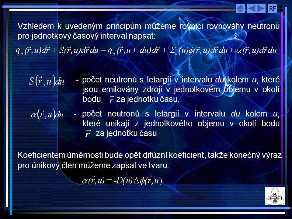Vzhledem k uvedeným principům můžeme rovnici rovnováhy neutronů pro jednotkový časový interval napsat: