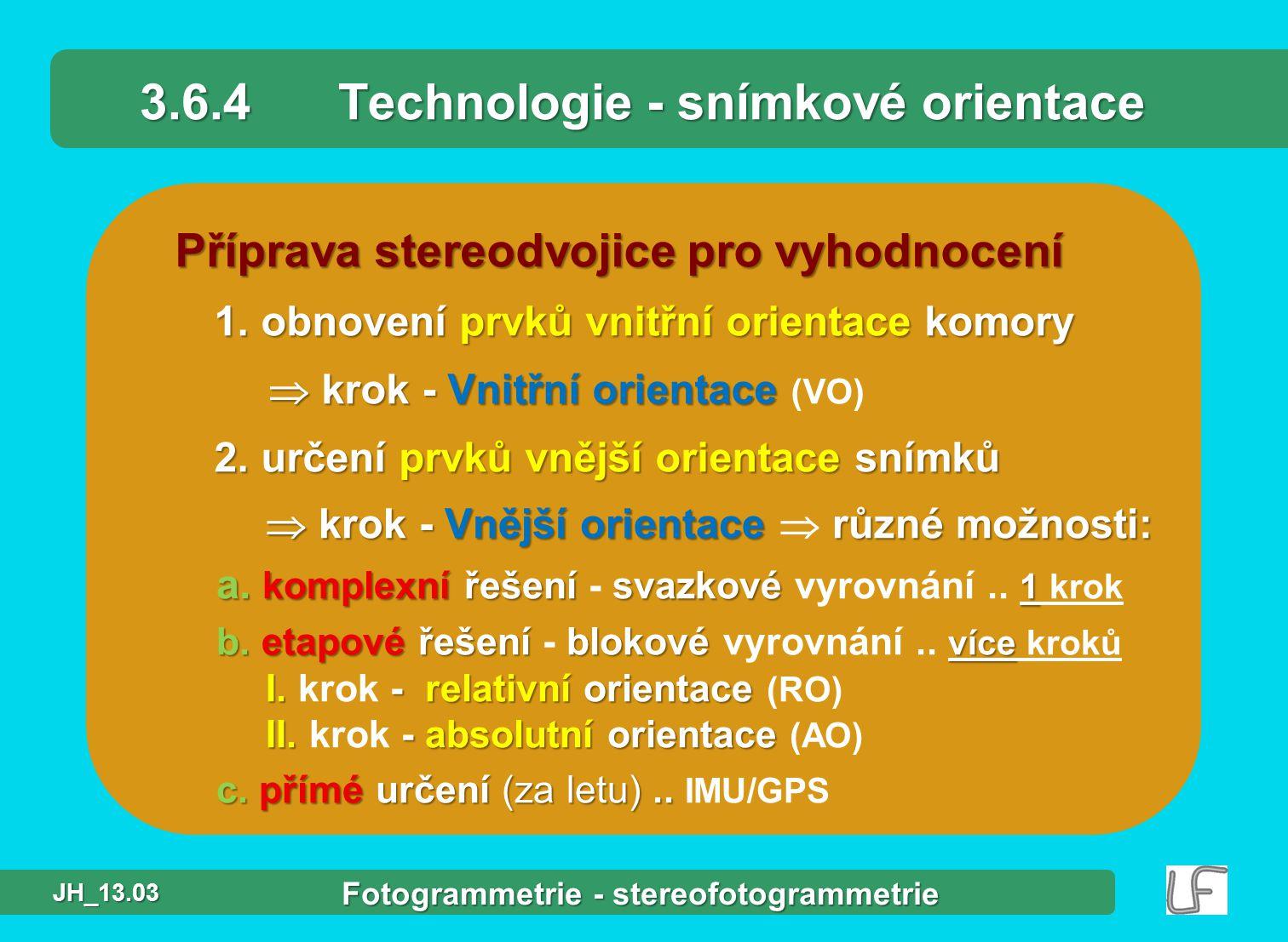 3.6.4 Technologie - snímkové orientace