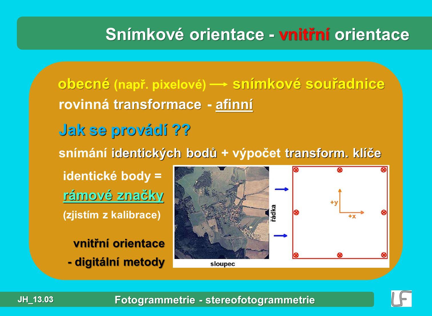 Snímkové orientace - vnitřní orientace