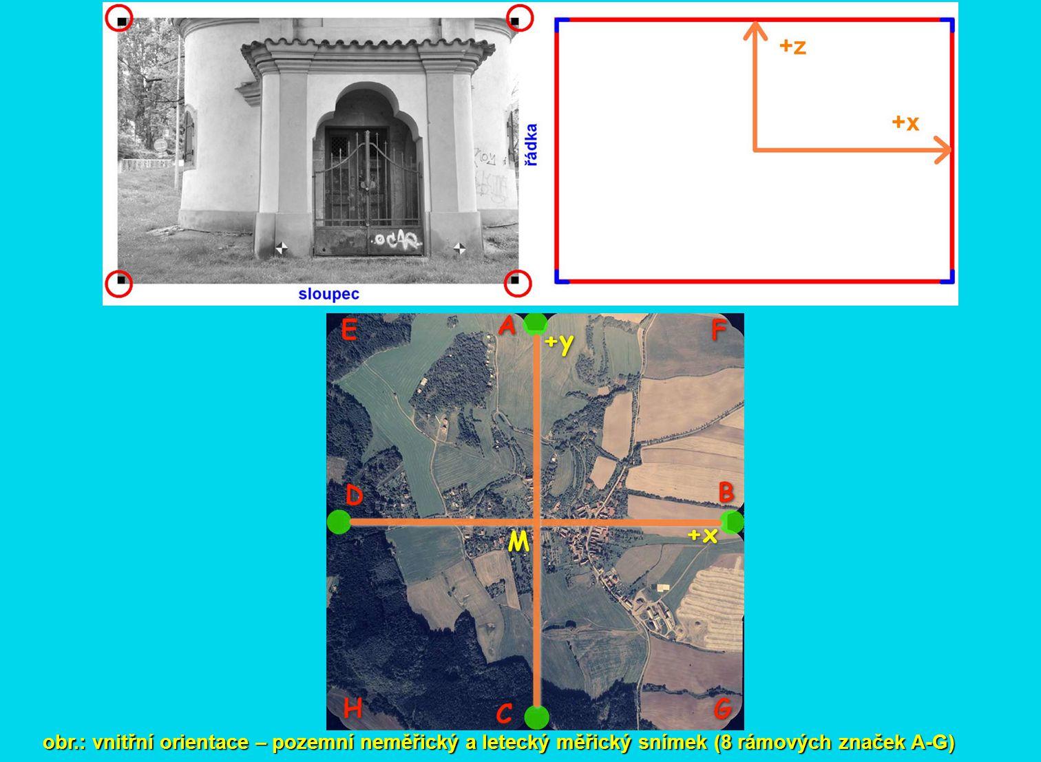 obr.: vnitřní orientace – pozemní neměřický a letecký měřický snímek (8 rámových značek A-G)