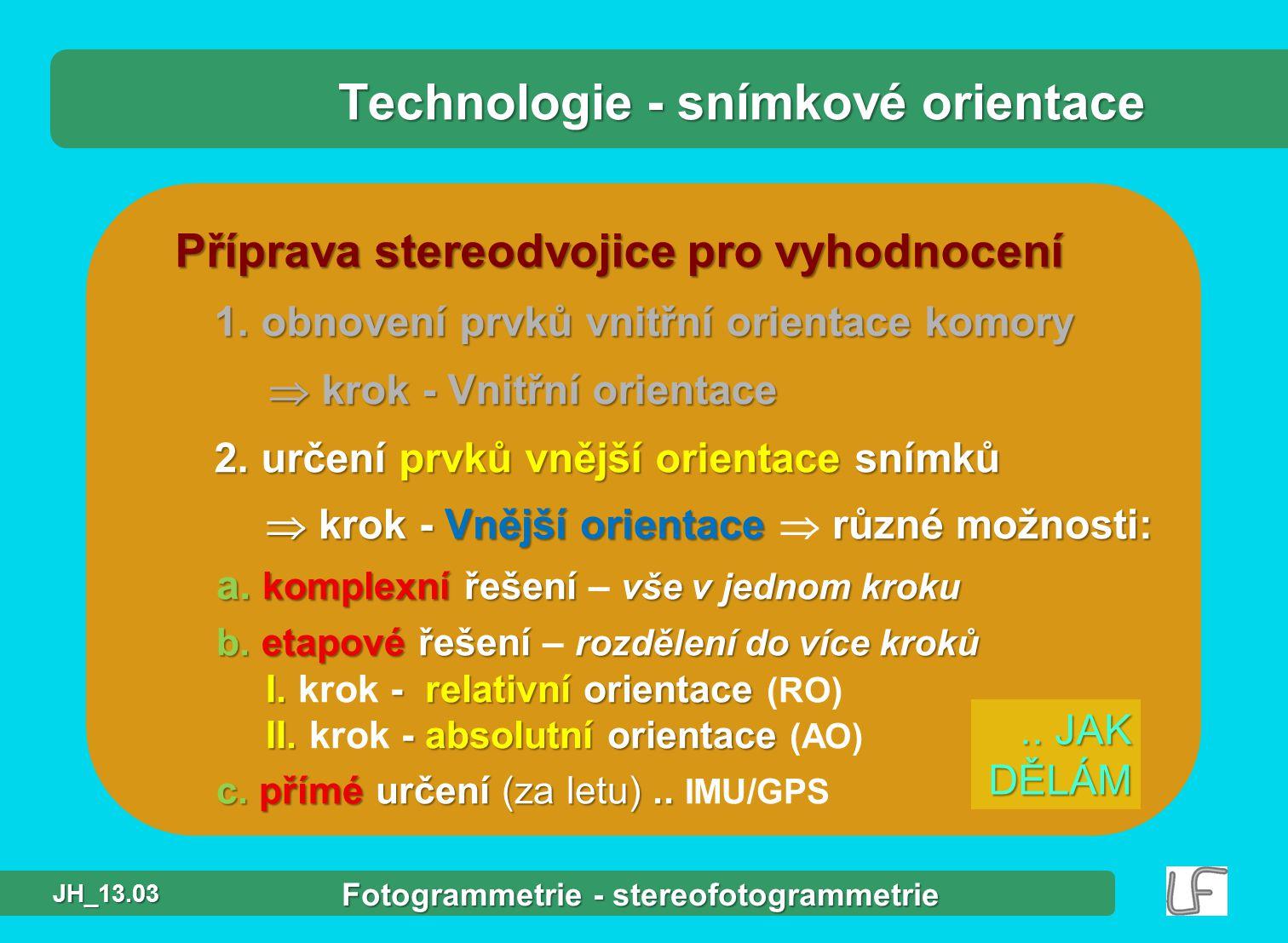 Technologie - snímkové orientace