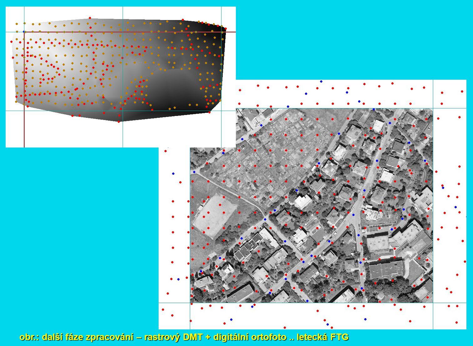obr. : další fáze zpracování – rastrový DMT + digitální ortofoto