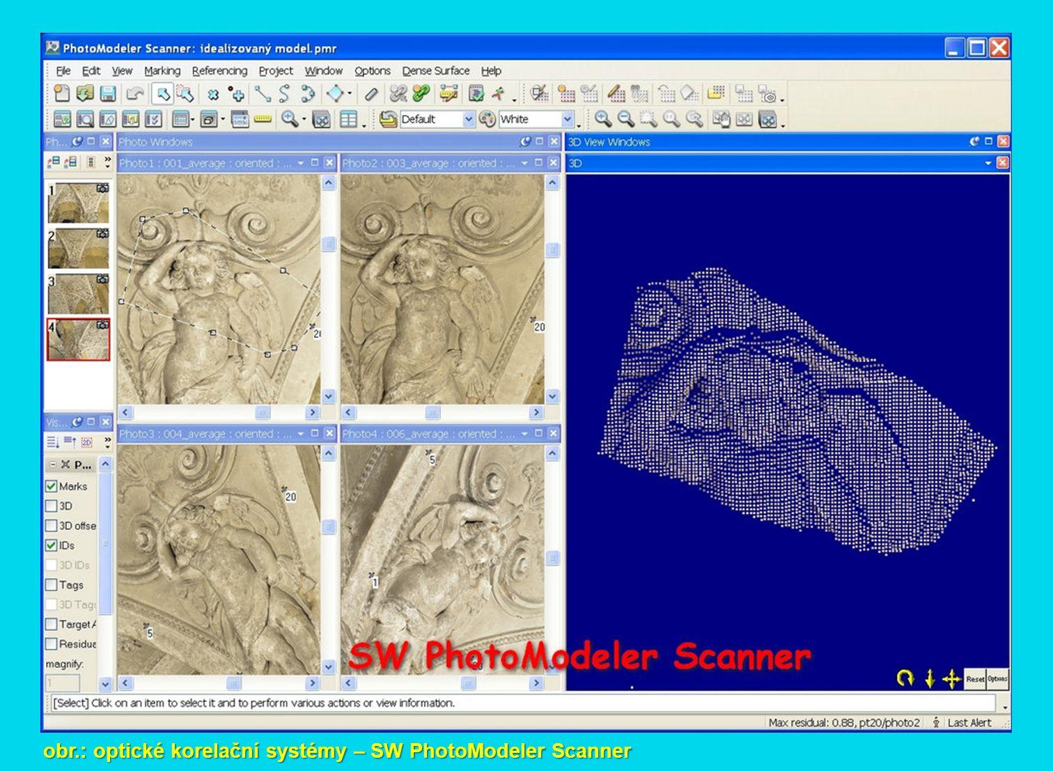 obr.: optické korelační systémy – SW PhotoModeler Scanner