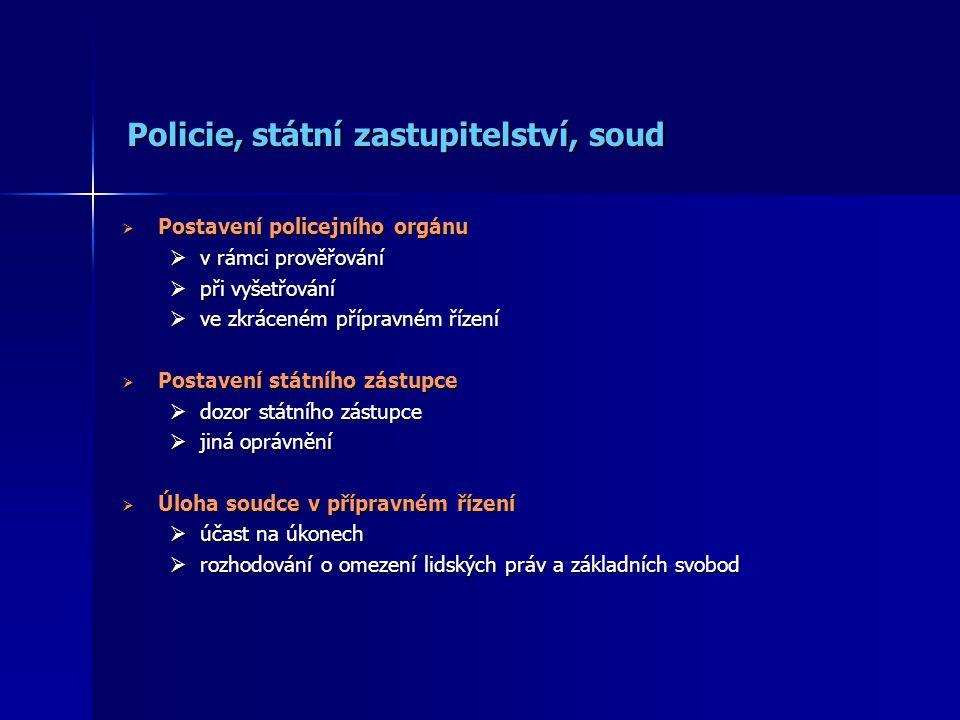 Policie, státní zastupitelství, soud
