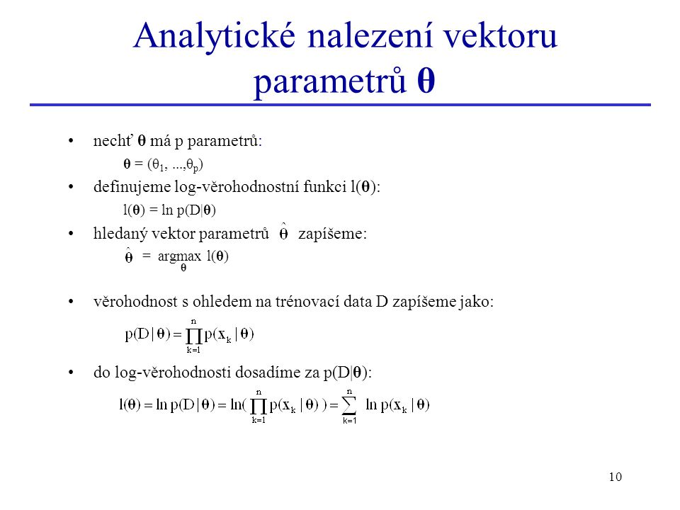 Analytické nalezení vektoru parametrů θ