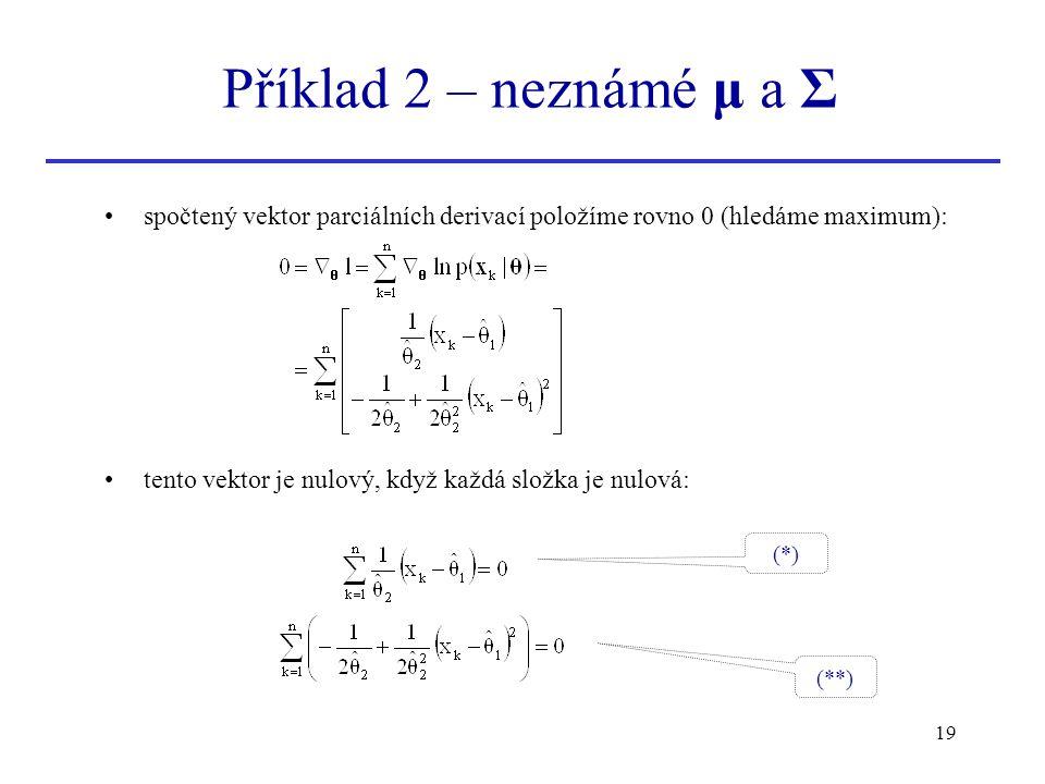 Příklad 2 – neznámé μ a Σ spočtený vektor parciálních derivací položíme rovno 0 (hledáme maximum):