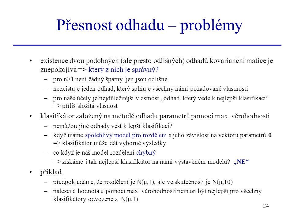 Přesnost odhadu – problémy